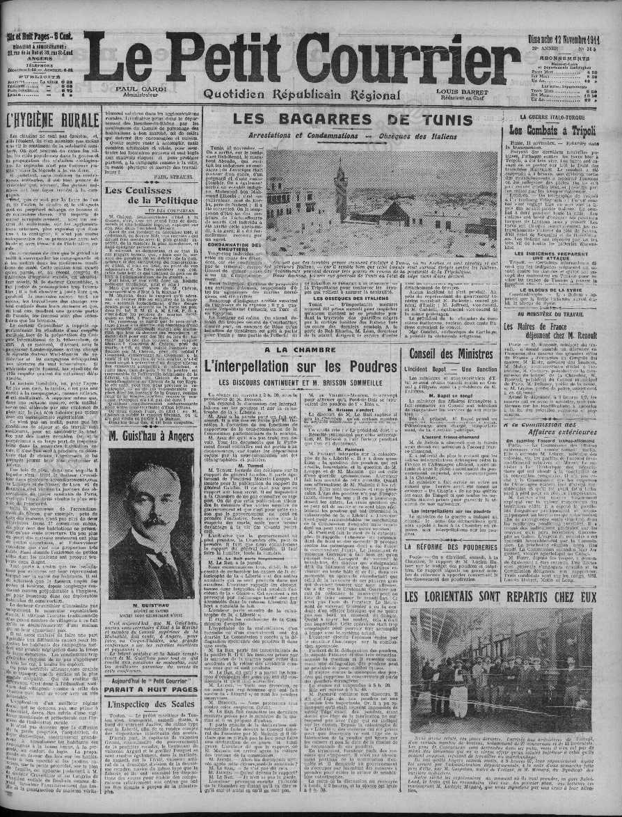le petit courrier du 12 novembre 1911 page 1 wiki anjou. Black Bedroom Furniture Sets. Home Design Ideas