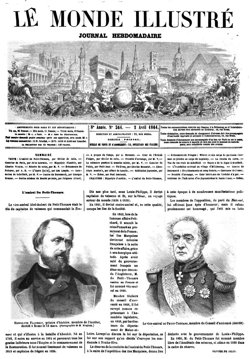 Page 1 du journal Le Monde illustré du 2 avril 1864.