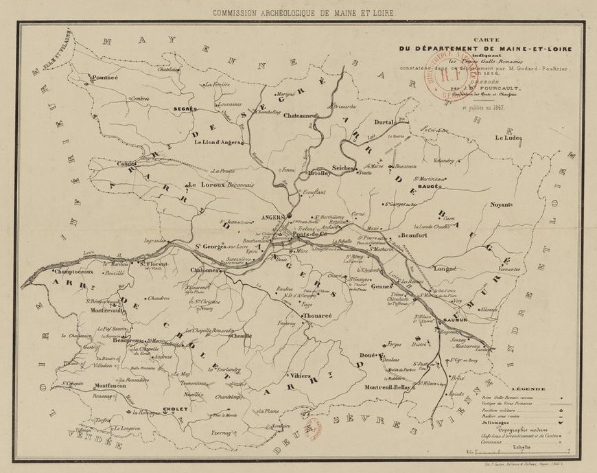 Carte des traces gallo-romaines en 1858.