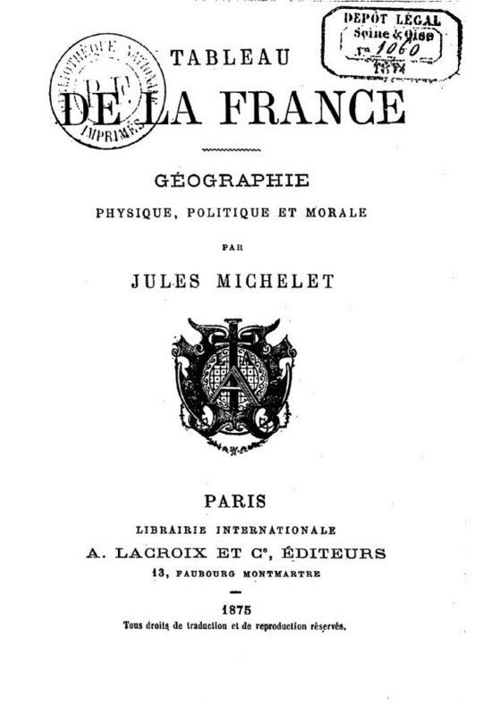 Tableau de la France de Michelet (1875).